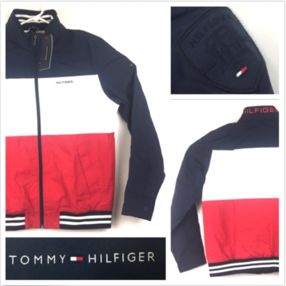 1102dd9a Tommy Hilfiger Jackets & Coats | Mens Medium Red White Blue Box Logo ...